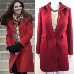 J. Crew Red Textured Wool Button Thinsulate Coat